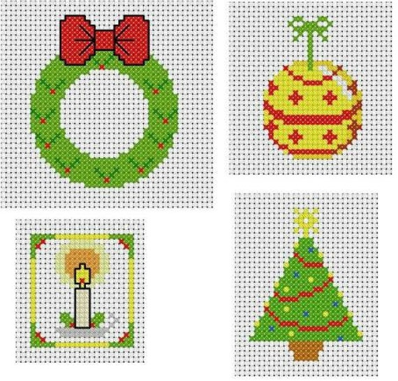Four Simple Christmas Cross Stitch Patterns for Card Making