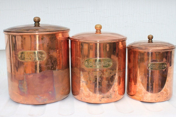 Vintage 3 piece copper kitchen canister set flour sugar coffee for Kitchen set vintage