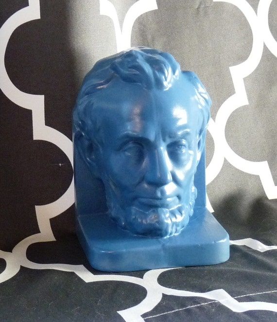Reserved for DayDreamsbyDahlia-Blue Upcycled Ceramic Bookend Abe Lincoln Head