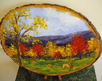 Hand Painted Wood Plaques - Autumn Landscape on Basswood