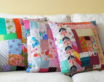 Girly Patchwork Pillow Cover: Refugee-Made