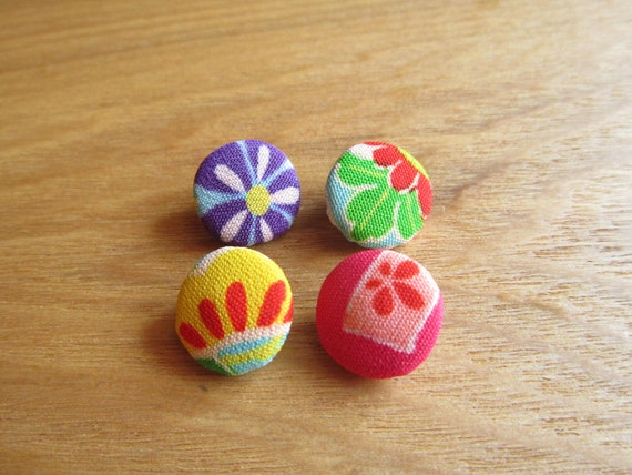 4 Small Covered Buttons Set, Silk Kimono Material