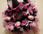 PINK witch Breast Cancer Halloween Wreath