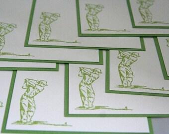 Green Golfer Note Cards Set of Ten, Golf Stationery Greeting Cards, Masculine Note Cards, Cards for Men