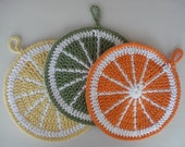 Citrus Slice Pot Holders crocheted in yellow, hot green and orange cotton - set of three