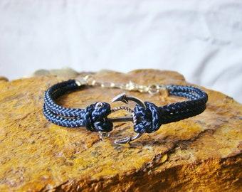 Nautical Navy Blue Rope Anchor Bracelet