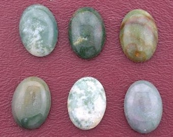 six oval 18x13 assorted color jasper cabochon gemstone
