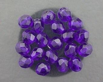 20 cobalt blue czech fire crystal faceted beads 6mm