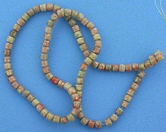 4mm drum gemstone autumn jasper beads 15 inch