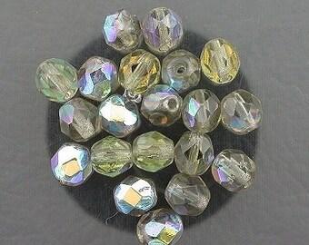 20  black smoky ab czech fire crystal facet beads 6mm