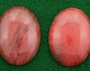 two 40x30 oval cherry quartz cabochon gemstone gem