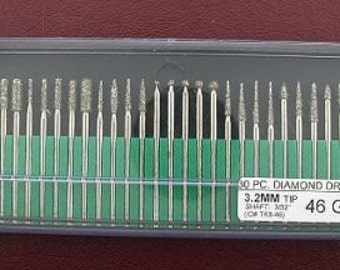 30 piece 46 grit diamond drill set lapidary tool 3/32inch tk3-46