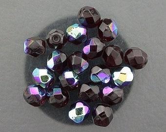 20 garnet ab czech fire crystal faceted beads 6mm
