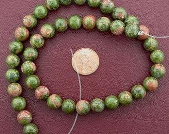40 round gemstone unakite beads