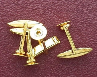 two pair 8mm round pad gold plated cufflink
