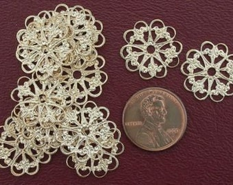 twelve ornate 18mm fancy brass filigree findings