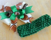 Green Baby Stretchy Headband with FOOTBALL Bow Clip (Team Colors Option)