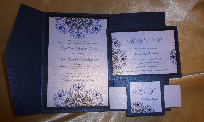 Navy Blue Wedding Invitations: Navy Blue Wedding Invitation Sample A Night By