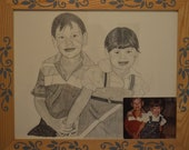 Custom black and white pencil sketch