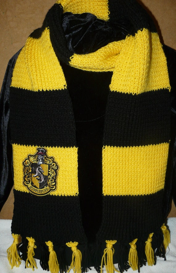 Hufflepuff Scarf Knitting Pattern : Harry Potter Hufflepuff knit scarf with crest patch by ...