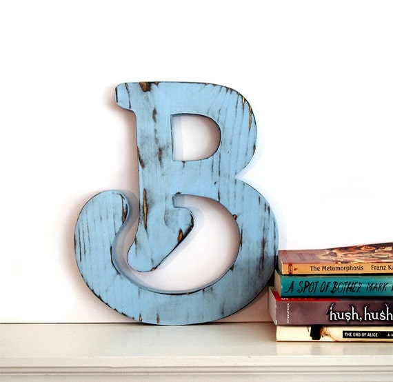 Wall Decor Letter B : Letter b wall decor rustic pine wooden sign gift