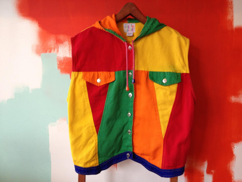 bootleg cross colours denim lifesaver vest hoody