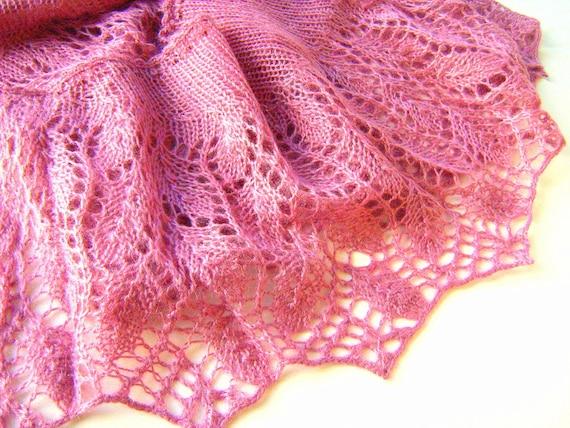 Knitting Rose Yarns : Knit shawl angora yarn knitting old rose gift her