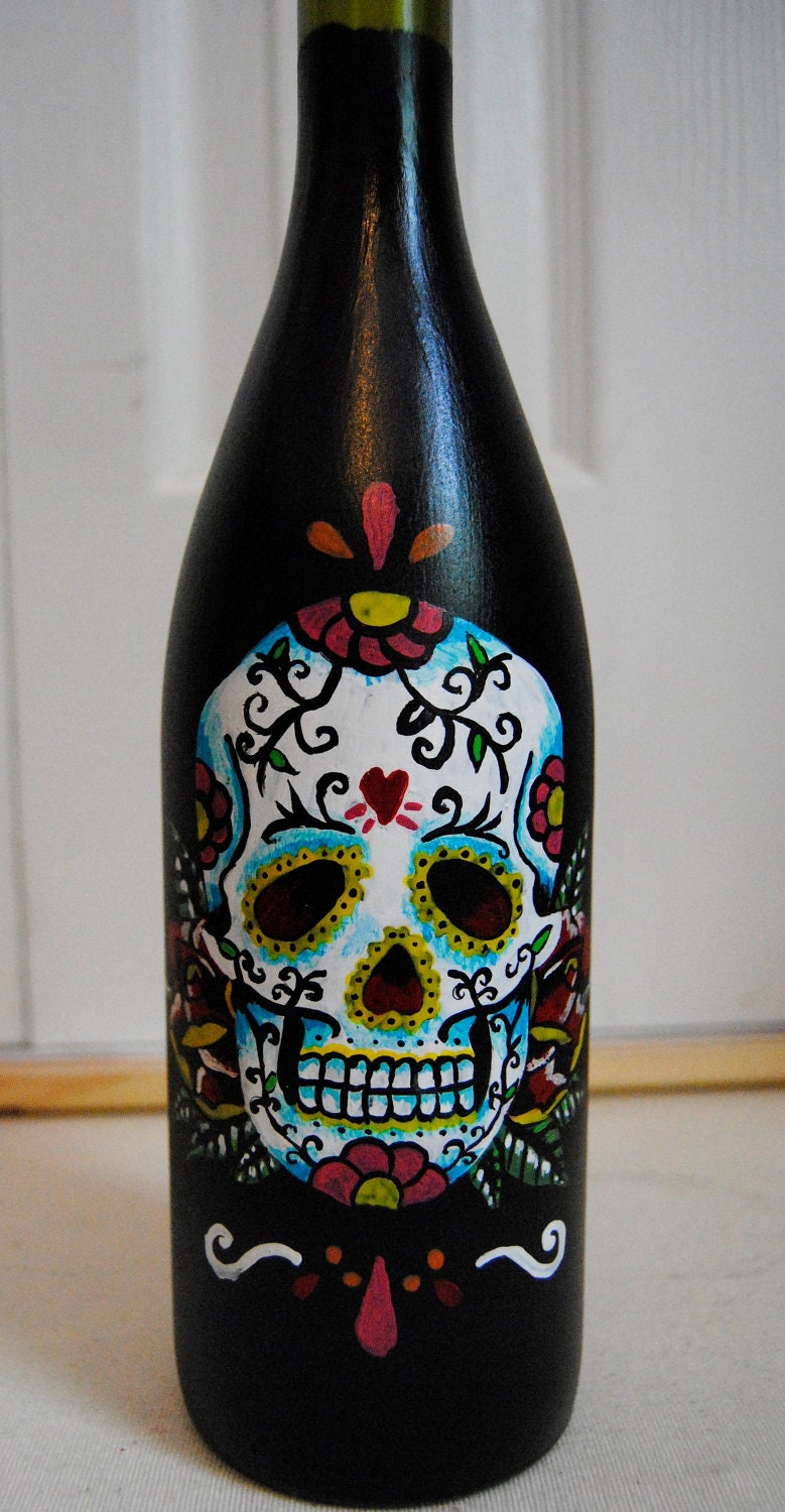Sugar Skull Painting On Wine Bottle Candle Holder Vase