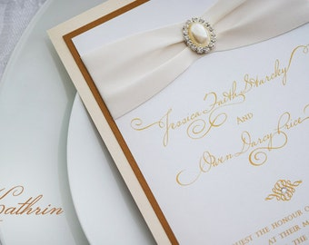 Ivory & Gold Wedding Invitation with Pearl and Rhinestone buckle  - Custom Sample