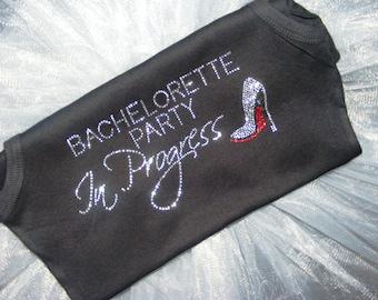 8 Bachelorette Party In Progress Rhinestone Iron On Transfers. Wedding Ideas Iron Ons. Bachelorette Party Iron Ons. DIY Wedding Motifs.