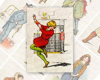Peter Pan ATC ACEO cards Digital Collage Sheet for Scrapbooking Altered Art Victorian Style / AC54