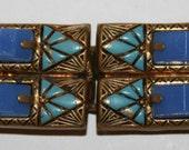 SALE: 1930s Egyptian Revival Art Deco Glass Brass Enamel Buckle