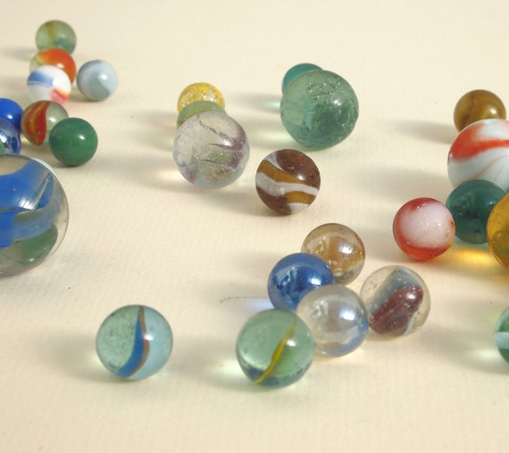 Vintage Glass Marbles Traditional Toy Mixed Sizes