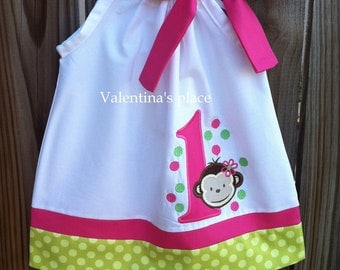 Monkey Girl Birthday pillowcase dress