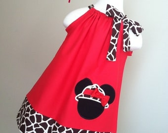 Adorable Minnie Mouse Safari Pillowcase dress