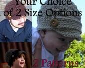 2 Patterns - Crochet Newboy Hat - 2 Sizes Of Your Choice