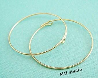 20mm  14k gold filled round beading hoop earring wire ear wire earwire E15g