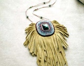Leather Gemstone Jewelry Labradorite Beaded Necklace Jewellery Fringed Bag Bead Embroidery