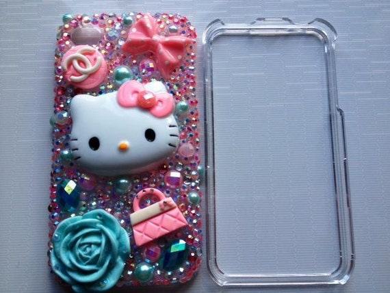 Hello Kitty Iphone 4 4s Case Pink Blue Super Bling Kawaii