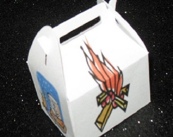 camping party favor box, campfire favor box, smores favor box, glamping favor box