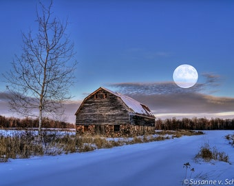 Barn with Full Moon, Winter Photography, Fine Art Print, Rural Wisconsin, Blue and White, Night Photo, Evening, Home Cabin Decor