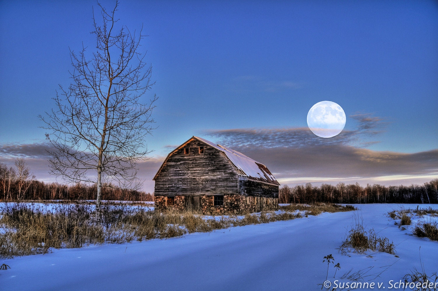 barn with full moon winter photography fine art print rural. Black Bedroom Furniture Sets. Home Design Ideas