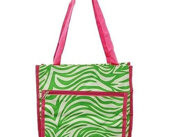 Hot Pink Lime Green Zebra Tote with Free Embroidery