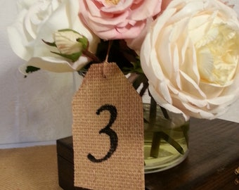 country wedding table numbers vintage wedding table decor centepiece gift tag place card 10 cards