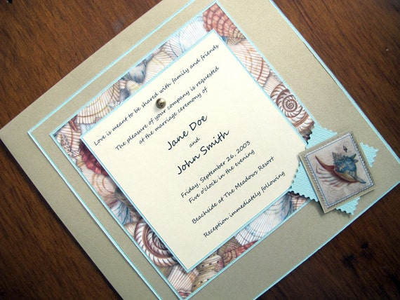 Beach Theme Wedding Invitation: Items Similar To Tropical/Beach Theme Wedding Invitation