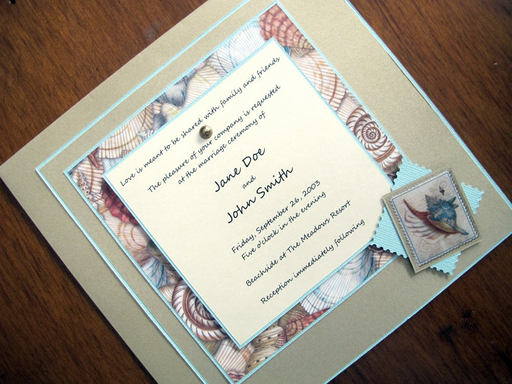 Beach Theme Wedding Invitation: Tropical/Beach Theme Wedding Invitation With By