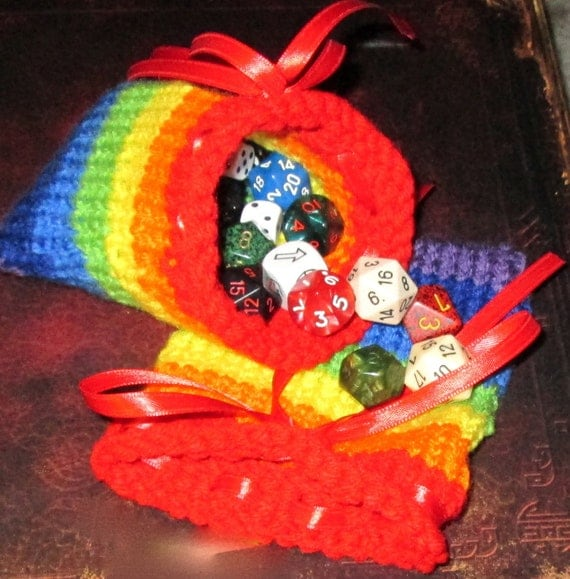 Hand Knit Rainbow Dice Bag by SerinsBlackDesigns on Etsy