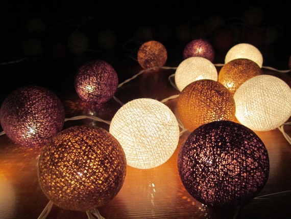 brown white cotton ball party patio wedding string lights. Black Bedroom Furniture Sets. Home Design Ideas