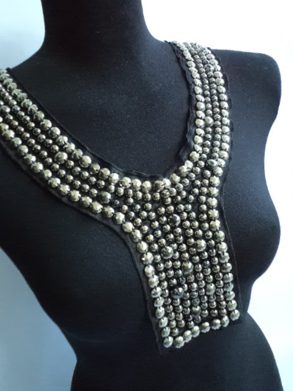 Black Necklace collar with more than 150silver  studs and beads FREE SHIPPING