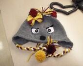 Cutsom Wolf Mascot Hat in School Colors